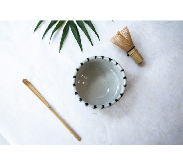 Matcha bowl – Striped white/navy