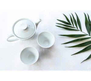 Teaset white | Teapot & 2 cups