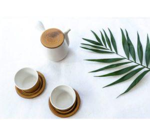 Teaset white/brown | Kyusu & 2 cups