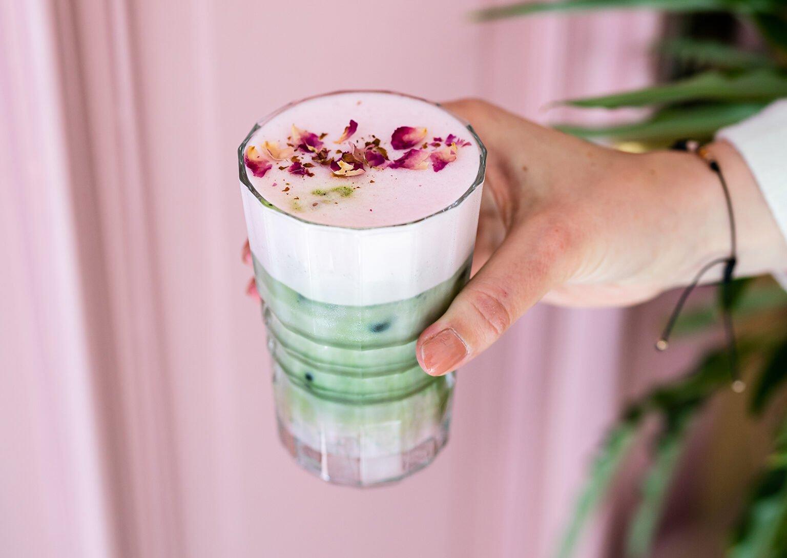 iced rose matcha latte