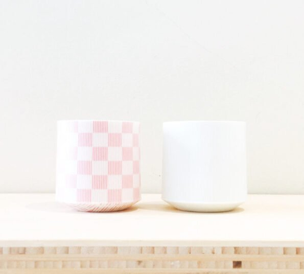 pink white cups